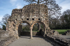 Basingwerk opactwa historyczne ruiny w Greenfield, blisko Holywell północy Walia zdjęcia stock