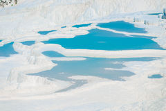Basins of Pamukkale unusual natural feature Stock Photography