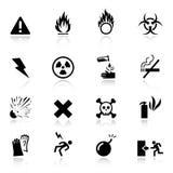 Basis - de pictogrammen van de Waarschuwing Stock Foto's
