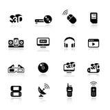 Basis - de Pictogrammen van Media Royalty-vrije Stock Afbeelding