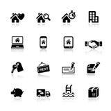 Basis - de pictogrammen van Onroerende goederen Stock Foto