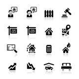 Basis - de pictogrammen van Onroerende goederen Stock Afbeeldingen