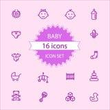 Basis - het Babypictogram plaatste 16 pictogrammen Stock Fotografie