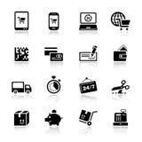 Basis - het Winkelen pictogrammen Royalty-vrije Stock Foto
