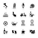 Basis - Italiaanse pictogrammen Stock Foto's