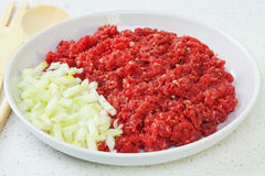 Raw Minced or Ground Beef with Onions Royalty Free Stock Photography