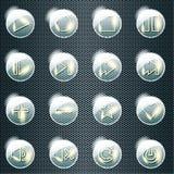 Basis reeks transparante glasknopen Stock Afbeelding
