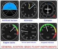 Basis vluchtinstrumenten Stock Foto's