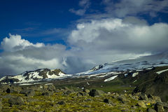 Basis von Snaefellsjokull-Gletscher in Nationalpark Snaefellsjokull, Island lizenzfreie stockfotos