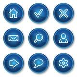 Basis Webpictogrammen, blauwe cirkelknopen Stock Afbeeldingen
