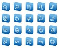 Basis Webpictogrammen, blauwe doosreeks Stock Foto's