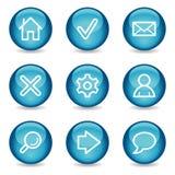 Basis Webpictogrammen, blauwe glanzende gebiedreeks Royalty-vrije Stock Foto's