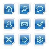 Basis Webpictogrammen, blauwe stickerreeks Stock Afbeeldingen