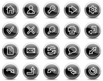 Basis Webpictogrammen, zwarte glanzende cirkelknopen Royalty-vrije Stock Afbeeldingen