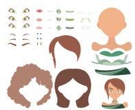 Basiskleding op spel met verschillende gezichtsdelen en kleren in groen en bruin palet Stock Fotografie