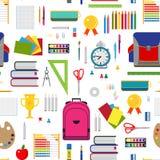 Basisonderwijs naadloze achtergrond met stationaire elementen Stock Afbeeldingen