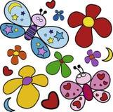 Basisrecheneinheiten und Blumen Stockbild