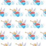 Basisrgbseamless-Kerstmispatroon Engelen die in de wolken uitbazuinen Vector illustratie op witte achtergrond royalty-vrije illustratie
