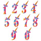 Numbers With Cute Unicorns Character Vector Set for Kids Birthday Party invitation, greeting card and cake toppers design. Unicorn Number vector illustration