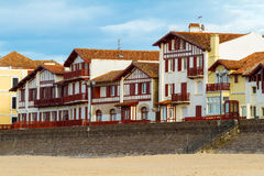 Bask Buildings. Typical white and red buildings from Saint Jean de Luz, France, Pays Basque stock photos