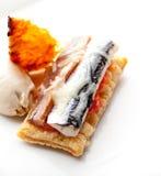 Bask Pintxo tuńczyk i sardela z pomidorem obraz stock