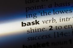 Bask. Word in a dictionary.  concept Stock Photo