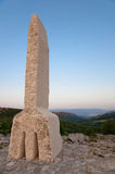 Baska谷和在Krk -克罗地亚的格拉哥里字母A信函 库存图片
