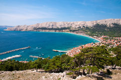 Baska bay sea and city from panoramic viewpoint Krk - Croatia Royalty Free Stock Photography