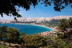 Baska bay sea and city from panoramic viewpoint threes frame. Krk - Croatia Royalty Free Stock Photo