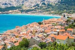 Baska, Krk, Croatia, Europe. Panoramic view of Baska town, popular touristic destination on island Krk Croatia Europe stock photo