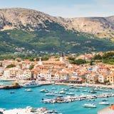 Baska, Krk, Croatia, Europe. Panoramic view of Baska town, popular touristic destination on island Krk Croatia Europe royalty free stock image