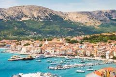 Baska, Krk, Croatie, l'Europe Image libre de droits