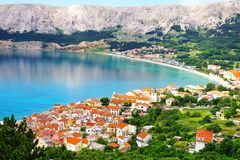 Baska, Krk island, Croatia. Picturesque nature sea landscape with Baska, Krk island royalty free stock photography
