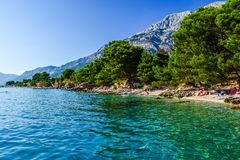 Baska Pole beach, Croatia. Beach in the resort town of Baska Pole, Makarska Riviera, Croatia stock photography