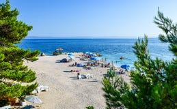 Baska Voda beach, Croatia. Beach in the resort town of Baska Voda, Makarska Riviera, Croatia royalty free stock images