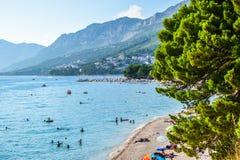 Baska Voda beach, Croatia. Beach in the resort town of Baska Voda, Makarska Riviera, Croatia royalty free stock photos