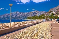 Baska Voda breakwater and fishing nets view Stock Photo