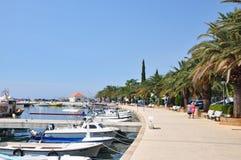 Baska Voda, Croatia – August 22, 2015: Baska Voda Marina marine harbor with nautical yachts stock photo