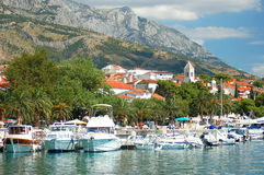 Gorgeous view of marina in dalmatian Baska Voda, C Royalty Free Stock Image