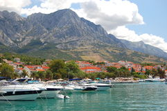 Spectacular clouds over Baska Voda on Adriatic coa Royalty Free Stock Photo