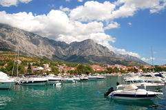 Spectacular clouds over Baska Voda on Adriatic coa Royalty Free Stock Images