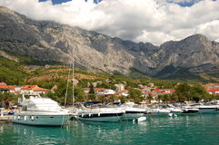 Gorgeous view of marina in dalmatian Baska Voda, C Royalty Free Stock Photos