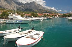 Spectacular clouds over Baska Voda on Adriatic coa Royalty Free Stock Photography