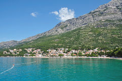 Baska Voda,Makarska Riviera,Dalmatia,Croatia. Beach of Baska Voda at the Makarska Riviera in Dalmatia,croatian adriatic sea,croatia Royalty Free Stock Photo