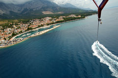 Baska Voda parasailing stock photo