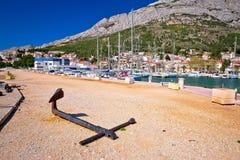 Baska voda waterfront sailing destination in Makarska riviera Stock Photo