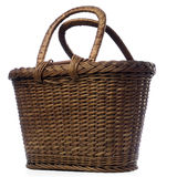 Basket. A woven basket isolated on white Stock Photography