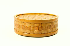 Basket. Brown handmade basket isolated on white Royalty Free Stock Photos