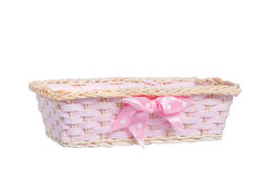 Basket. A pink basket, isolated on white Royalty Free Stock Photos