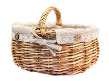 Basket. A picnic basket on a white background Stock Photography